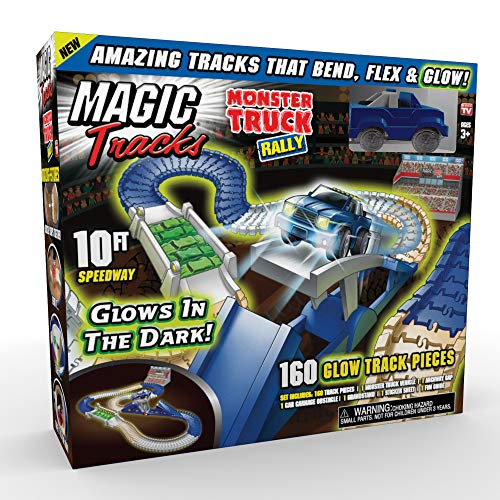 Ontel Magic Tracks Monster Truck Rally Glow in The Dark Racetrack Set with 10 Feet of Speedway