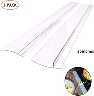 Silicone Kitchen Stove Counter Gap Cover Long & Wide Gap Filler (2 Pack) Seals Spills Between Counters, Stovetops, Washing Machines, Oven, Washer, Heat-Resistant and Easy Clean,Semi Clear,25 inches