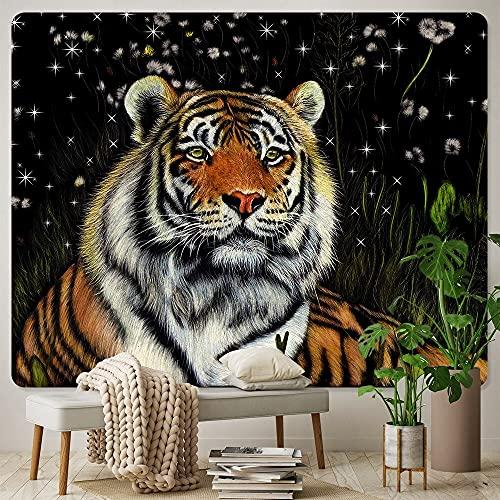 Tigre animal tapiz de arte psicodélico decoración bohemia hippie tapiz sofá manta tela colgante A2 180x200cm
