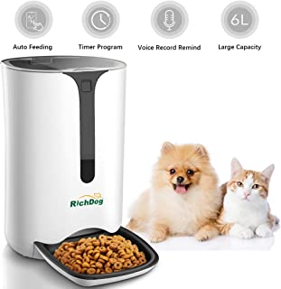RICHDOG Automatic Pet Feeder - Pet Feeding, Lager Capacity 6L, Accurate Portion Control, Tow Power Supply, Voice Record and Play, Timed Pet Feeder, Auto Cat Feeder Dog Feeder, Small Animal Feeder