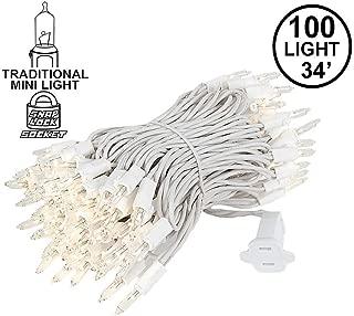 Novelty Lights 100 Light Clear Christmas Mini Light Set, White Wire, 34' Long