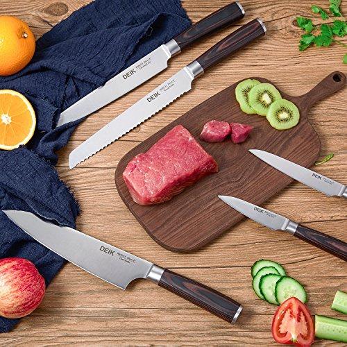 Deik Messerblock Set, Messerset, Kochmesser, Edelstahl, Ergonomischer Holz-Griff, drehbarer Holzblock - 6
