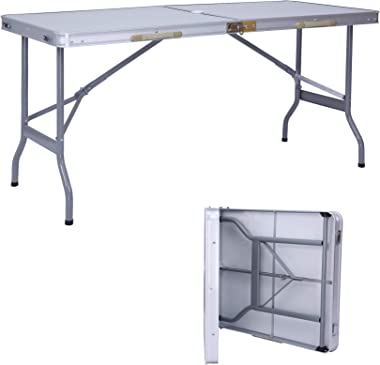 LUCKYERMORE Portable Folding Table Camping Table 5 Ft Lightweight Table Suitcase Picnic Table with Umbrella Hole