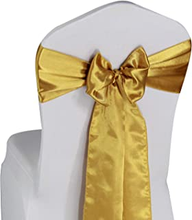 Gold Satin Chair Sashes Ties - 50 pcs Wedding Banquet Party Event Decoration Chair Bows (Gold, 50)