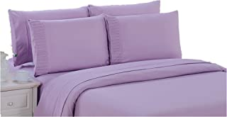 Bamboo Living Ultra Soft Silky Deep Pocket Solid Bamboo 6 Pieces Sheet Set with 4 Pillowcases, Purple Color Queen Size