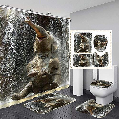ZHEBEI Unterwasser-Elefanten-Duschvorhang, wasserdicht, 4-teiliges Badezimmer-Set, Teppichbezug, WC-Abdeckung, Badematte, strapazierfähiger Stoff