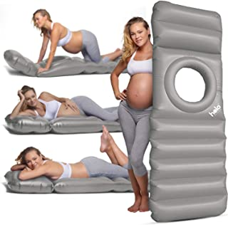 HOLO The Original Inflatable Pregnancy Pillow, Pregnancy Bed + Maternity Raft Float with a Hole to Lie on Your Stomach During Pregnancy, Safe for Land + Water, Silver