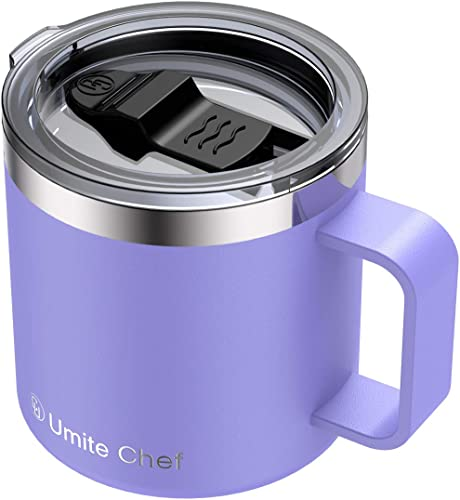 popular Stainless Steel Insulated Coffee Mug Tumbler with Handle, Umite Chef 14oz outlet sale Double high quality Wall Vacuum Travel Tumbler Cup with Sliding Lid Travel Friendly, Lavender sale