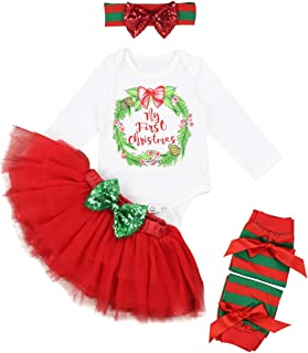 793690d0d My First Christmas Baby Girls Clothes Long Sleeve Bodysuit with Tutu Dress  4pcs Party Outfit Sets