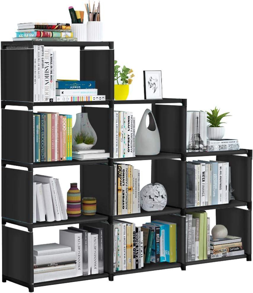 VOJUEAR Cube Storage DIY 9-Cubes Closet Storage Bookcase Organizer Shelving Bookshelf Clothes Storage for Home,Office,Bedroom,Home Furniture Storage (Black)