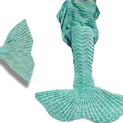 Jiaweixiang Meerjungfrau Decke, Schlafsack Decke Handgemachte häkeln meerjungfrau flosse decke für Erwachsene und Kinder, Mermaid Blanket alle Jahreszeiten Schlafsack (Grün)