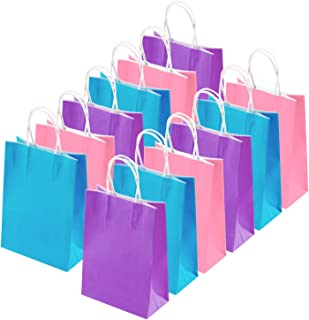 Cooraby 20 Pieces Kraft Paper Bags Party Favor Bags Craft Paper Bags with Handle for Birthday, Baby Shower, Wedding and Party Celebrations (Light Blue, Light Purple, Pink)