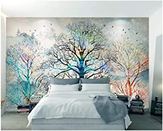 Jiling Modern Simple Personality Indoor Wallpaper Hand Painted Tree Backdrop Decorative Painting 3D @320X240Cm