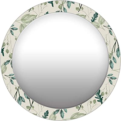 999Store Printed Green Leaves Pattern Round Mirror (MDF_24X24 Inch_Multi)