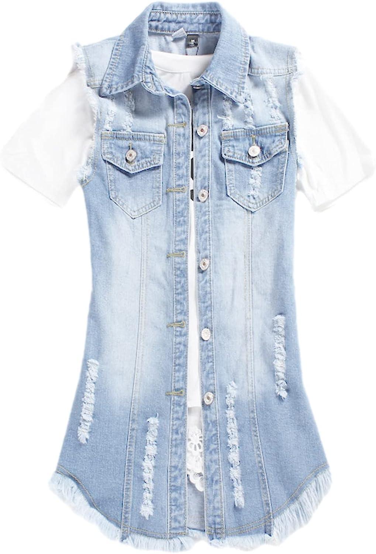 Shiyifa Women's Distressed Sleeveless Button Up Mid Long Denim Jean Vest Gilet Jacket