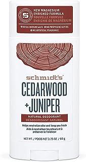 Schmidt's Deodorant Cedarwood + Juniper Natural Deodorant, No Aluminum. No Artificial Fragrance, Certified Vegan and Cruel...