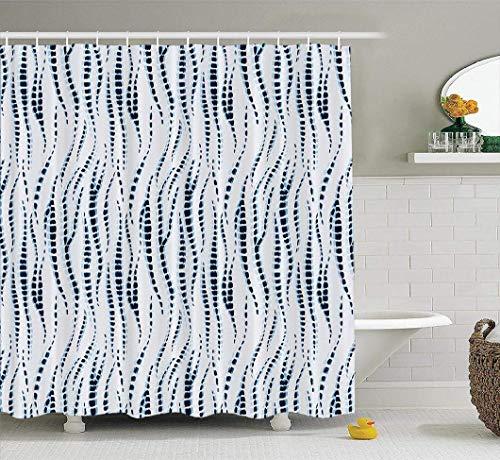 remmber me Marineblau Zickzack Duschvorhang Boho Tie Dye Hippie-Stil Ikat Textilgewebe Bad Duschvorhang wasserdicht Badezimmer Dekor Polyester Stoff Vorhang Sets mit Haken 60 x 72 Zoll