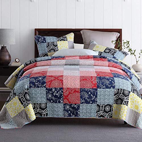 Qucover Tagesdecke 220x240cm Patchwork, Bettüberwurf 220x240cm aus Baumwolle, Überdecke für Sofa Doppelbett, Gesteppte Decke mit Kissen Set, dünne Bettdecke für Sommer