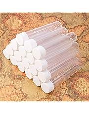 PandaHall Elite 30 tubos de ensayo de plástico transparente de 130 x 25 mm con tapas blancas