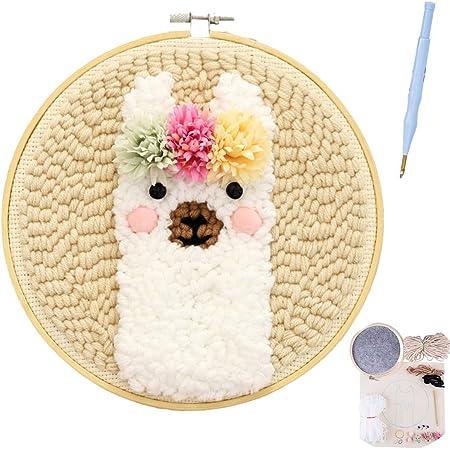 Latch Hook Kit Big Size Latch Rug Kit Rug Beginner for Christmas Decoration Home Flower Rug 39 X 27,A,39 X 27