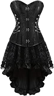 KSHUN Women's Sexy Plus Size Lace Gothic Skirt and Steampunk Corset Top Suit