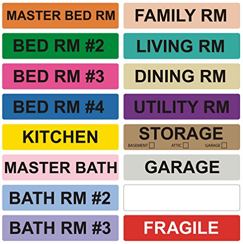 enKo - Home Moving Packing Labels Stickers for Box - Color Coded for Boxes, Packing Box Fragile Stickers (16 Roll, 800 Labels, 4 Bedroom House)