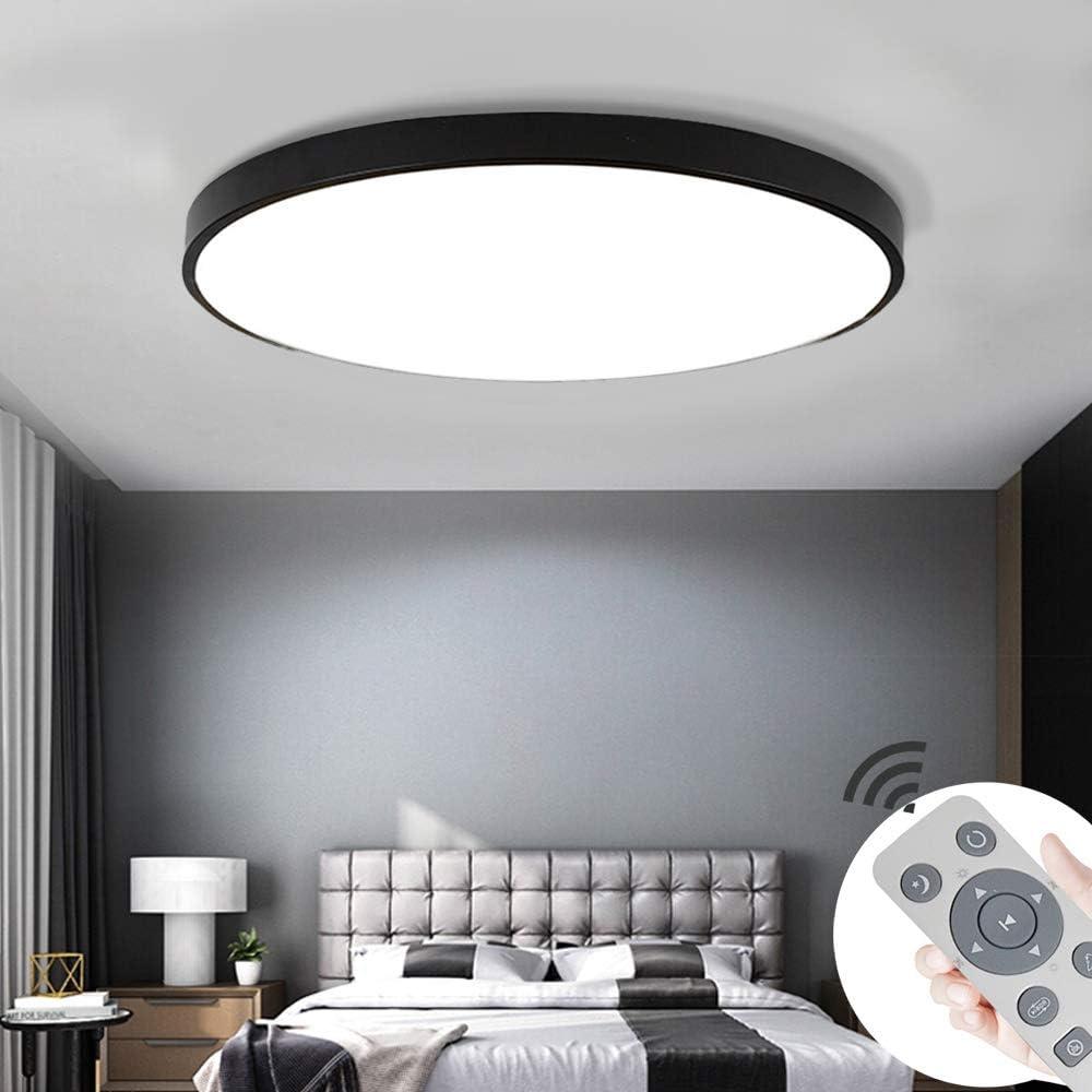 COOSNUG LED Deckenleuchte 72W Dimmbar Schwarz Quadrat Deckenlampe Wohnzimmer Schlafzimmer Küche Panel Leuchte (3000-6500K) [Energieklasse A++] Schwarz Rund-36w