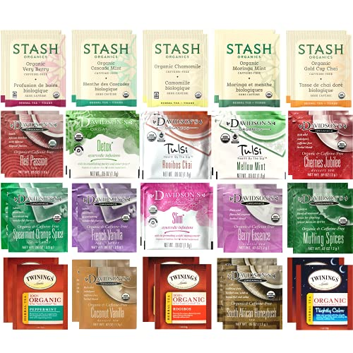 Organic Herbal Tea Bags Sampler Set - Caffeine Free Variety Gift Pack - 40 Ct 20 Flavors - Drawstring 100% Cotton Bag Included