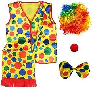 MIBOW Clown Costume - Clown Vest + Clown Bag + Clown Rainbow Wig + Clown Bow Tie + Clown Nose - Clown Dress Up Accessories
