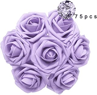 Carreking Artificial Flowers Roses 75pcs Real Looking Cream Fake Roses DIY Wedding Bouquets Shower Party Home Decorations Arrangements Party Home Decorations (Lilac+Diamond)
