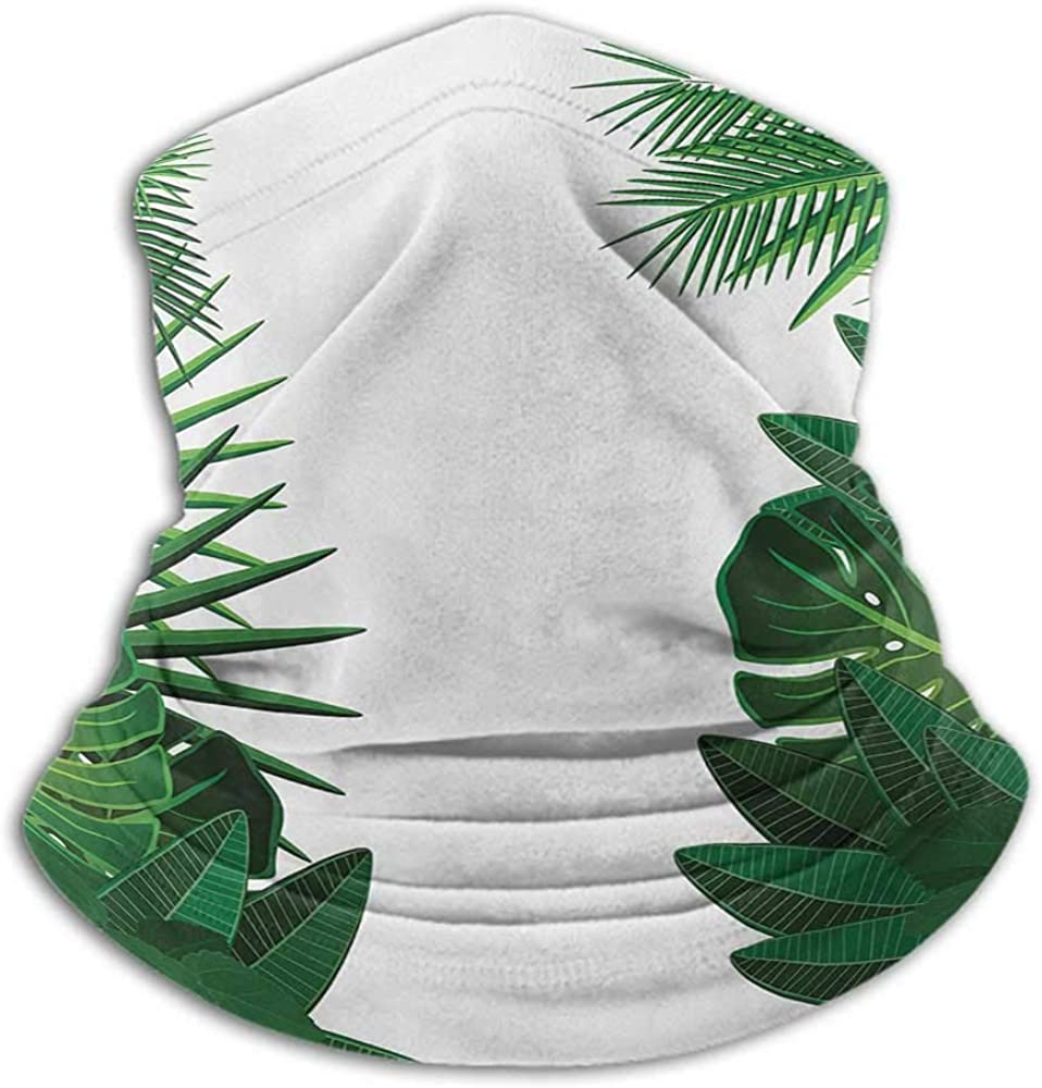 Face Scarf Mask Women Leaf Unisex Anti-Dust Washable Exotic Fantasy Hawaiian Tropical Palm Leaves with Stylish Floral Graphic Artwork Green White