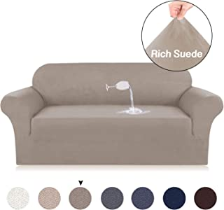 Turquoize Velvet Suede Sofa Cover 1-Piece for Sofa Cover/Protector, Luxurious Soft High Stretch Anti-Slip Sofa Cover/Slipcover,High Spandex Soft Brush,Taupe,3 Seater Sofa Size