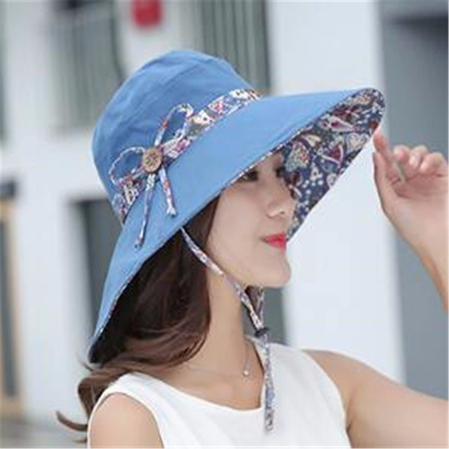 Women Hat Summer Fall Sun Visor Sun Predection Cap Outdoor Fisherman Hat Sun Hat bluee