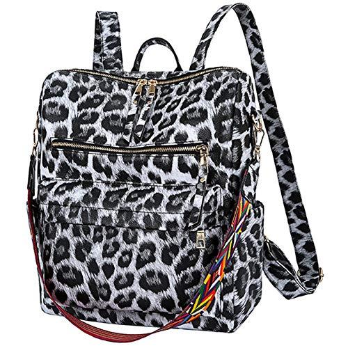 CUHAWUDBA Europ?Ische und Amerikanische Damen Pu Rucksack Trend Leoparden Muster College Student Schul Tasche Weiblicher L?Ssiger Rucksack Wei?