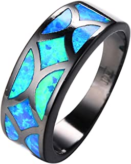 Ocean Blue Fire Opals Black Gold Filled Geometric Style Party Band Wedding Ring
