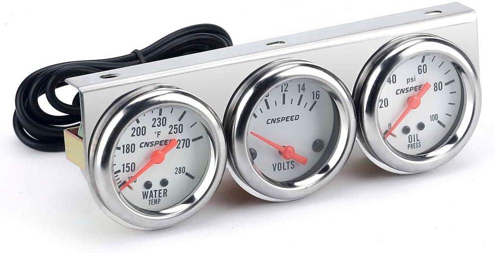 Carrfan 2'' Triple Gauge Kit Water Volt Direct Ranking TOP2 store Oil Temp Pre