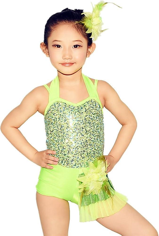 MiDee Jazz Dance Costume Biketard Many popular brands Sequins outlet Neck Halter Girls