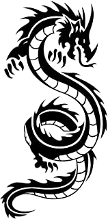 Newclew Japanese Chinese Tribal DRAGON flying Black or White Sticker Decal Notebook Car Laptop Art Bumper Sticker Decal