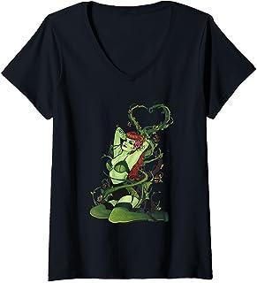 Femme Batman Poison Ivy Bombshell T-Shirt avec Col en V