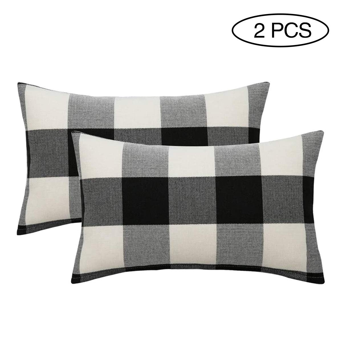 Black//White, 12 x 20 SEEKSEE Set of 2 Buffalo Check Black and White Plaid Throw Pillow Covers Cushion Cover Cotton Linen for Fall Farmhouse Christmas Home Decor