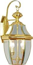 نورپردازی Livex 2251-02 Monterey 2 Light Outdoor Brass، برنج جلا شده، فانوس دیواری برنجی جامد با شیشه ای شفاف