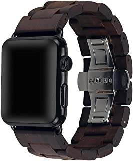 Wooden Watch Strap Band 42mm/44mm with Stainless Steel Butterfly Buckle Compatible for iWatch Series 1 2 3 4 (Brown)