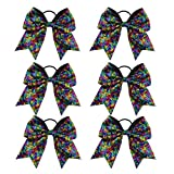 6PCS 8' Large Cheerleader Bows Ponytail Holder...