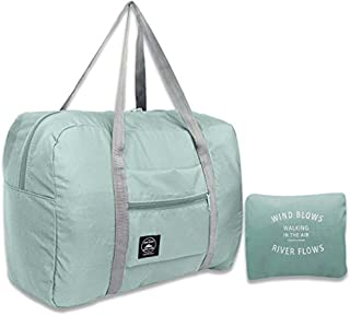 Foldable Lightweight Duffle Bag Waterproof Travel Storage Luggage Tote Bag for Women and Men (Light blue)