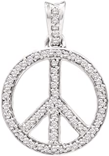 Jewels By Lux 10kt White Gold Womens Round Diamond Peace Sign Circle Pendant 1/4 Cttw In Pave Setting (I2-I3 clarity; J-K color)