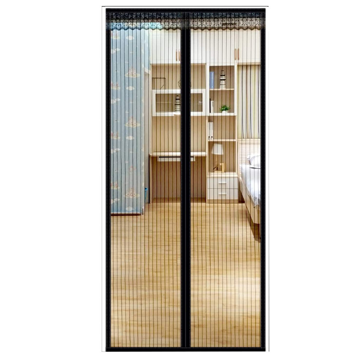 半円テロアパートWL 夏シール磁気網戸,通気性メッシュ バグ証明ドア カーテン 寝室漫画ネット カーテンをあけることがなく-ブラック 80x210cm(31x83inch)