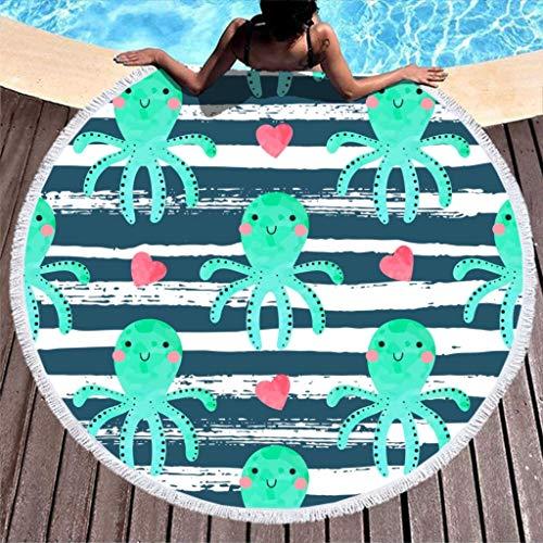AEMAPE Toalla de Playa de Rayas de Pulpo, Manta de Playa de Microfibra Redonda Grande con borlas, Manta de Picnic para la Playa, Tapiz de Tela, Azul, 59 Pulgadas