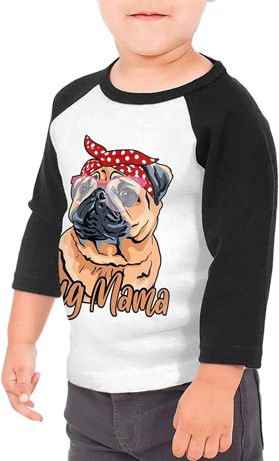 Pug Mom Red Scarf T-Shirts Novelty for Girls Tees with Cool Designs