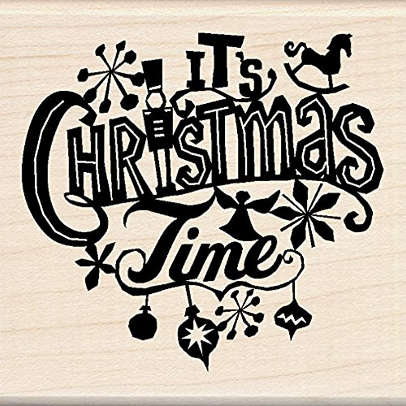 Inkadinkado Christmas Mounted Rubber Stamp, 2.75 by 7.5-Inch, It's Christmas Time