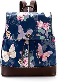 TIZORAX Rose mit Schmetterling auf marineblauem PU-Leder Rucksack Mode Schultertasche Rucksack Reisetasche für Frauen Mädchen